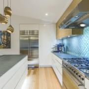 The iridescent 3D tile splashback draws the eye countertop, design, floor, flooring, furniture, glass, interior design, kitchen, tile splashback, Kira Gray