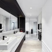 ​​​​​​​What a difference great design makes. This fresh, architecture, bathroom, black-and-white, interior design, tiles, Archer Design