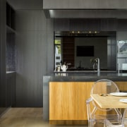 What pantry? For this design, by Borrmeister Architects, architecture, beige, building, cabinetry, ceiling, countertop, cupboard, floor, flooring, furniture, home, house, interior design, kitchen, kitchen stove, laminate flooring, loft, material property, plywood, property, real estate, room, table, tile, wall, yellow, black, orange