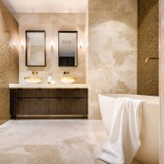​​​​​​​In this master ensuite by designer Davinia Sutton, architecture, bathroom, limestone, marble, plumbing fixture, Davinia Sutton, vanity
