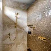 ​​​​​​​Showered in luxury – this shower has gold-plated architecture, bathroom, marble, plumbing fixture, shower, fittings, Davinia sutton