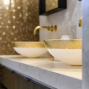 ​​​​​​​All that glitters –  blown glass bowls hand-painted architecture, bathroom, countertop, marble, plumbing fixture, sink, Davinia Sutton, blown glass bowls, marble