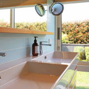 This master ensuite has the same clean, bold architecture, bathroom, countertop, tap, tile, Frans Kamermans, Bathroom vanity