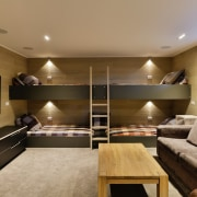 In this home, a massive bunkroom set up home, building, design, furniture, home, house, interior design, living room, table, bunkroom, Koia Architcts
