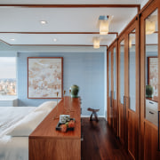 ​​​​​​​A major fault of this apartment's existing layout architecture, bedroom, design, glass doors, floor, flooring, furniture, hardwood, home, penthouse, interior design, Andrew Wilkinson