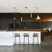 Looking a little like a perfectly balanced abstract architecture, bar stool, cabinetry, countertop, benchtop, floor, flooring, home, house, interior design, kitchen, Darren James, wood veneer, bar stools