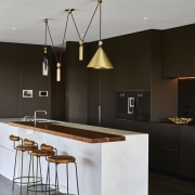 ​​​​​​​Apt companions – a counter-weighted lighting fixture shines architecture, bar stool, countertop, design, furniture, kitchen, light fixture, lighting, Darren James, Brass Lighting