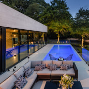 ​​​​​​​For this project by Freeman Ball Developments, tilt-panel architecture, backyard, building, courtyard, design, estate, home, house, interior design, landscaping, leisure, lighting, patio, property, real estate, reflecting pool, residential area, roof, room, swimming pool, tree, villa, gray, black