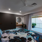 ​​​​​​​Prior to this master suite renovation, only the architecture, bed, bed sheet, bedroom, building, ceiling, floor, furniture, home, house, interior design, property, real estate, room, suite, gray, black