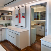 What scullery? Supplementing the main on-show workspace which architecture, building, cabinetry, ceiling, closet, countertop, cupboard, door, floor, furniture, home, house, interior design, kitchen, material property, property, real estate, room, shelf, gray