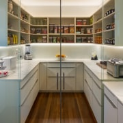 Too good to conceal! This well-appointed scullery forms architecture, building, cabinetry, ceiling, countertop, cupboard, floor, flooring, furniture, home, house, interior design, kitchen, material property, property, real estate, room, shelf, gray, brown