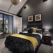 ​​​​​​​This large master suite includes a glass-walled bedroom, black, gray