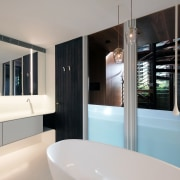 When this bathroom's frameless sash windows are open gray