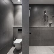 ​​​​​​​These toilet and shower cubicles are located in gray, black