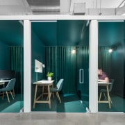 Imperatori Design dotted colourful rows of telephone booths architecture, blue, building, ceiling, chair, design, dining room, door, floor, flooring, furniture, glass, green, home, house, interior design, loft, room, table, teal, turquoise, vehicle door, wall, teal