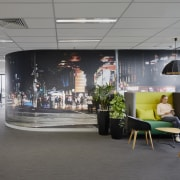 An apt photo mural provides colour and privacy architecture, building, design, flooring, furniture, interior design, lobby, offices, Apartent display wall, VicRoads building, Melbourne