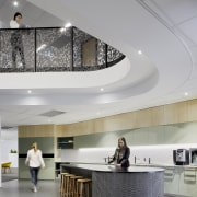 For the VicRoads fit-out, the perforated aluminium screens architecture, building, design, flooring, furniture, headquarters, interior design, lobby, VicRoads fit-out, aluminium screening
