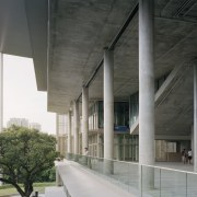 Contemporary university architecture studio includes elements of traditional architecture, brutalist architecture, building, concrete, daylighting, daytime, facade, glass, house, line, material property, metropolitan area, reinforced concrete, black, gray