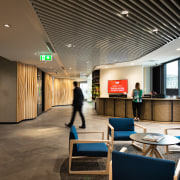 Westpac's head office reception area in the new architecture, building, design, floor, flooring, furniture, interior design, lobby, office, reception area, Jasmax