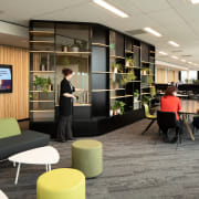 Low VOC surfaces and materials feature throughout Westpac's architecture, building, design, flooring, furniture, interior design, lobby, office, Westpac Head Office, Low VOC surfaces, Resene, Jasmax