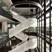 Large open floor plates in No.1 Sylvia Park architecture, building, design, nterior design, stairs, black, white,  Sprial stairway, Sylvia Park, Unispace, IAG