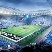 One stadium, two pitches – Tottenham Hotspur's new architecture, arena, arena football, atmosphere, audience, competition event, crowd, fan, goal, international rules football, player, sky, soccer, soccer-specific stadium, sport venue, sports, stadium, super bowl, team sport, tournament, world, teal