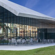 The Thomas P Murphy Design Studio Building's open-air architecture, building, community centre, facade, pavilion, shade, gray, Arquitectonical University Miami