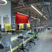 A variety of reconfigurable desking supports students at building, chairs, design, furniture, interior design, office, commercial space