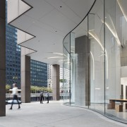 The CME Center's new lobby provides pedestrians outside architecture, building, ceiling, column, commercial building, corporate headquarters, facade, glass, headquarters, interior design, lobby, metropolitan area, mixed-use, gray