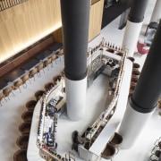 A bird's eye view of the white terrazzo pipe, white, black
