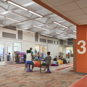 Vibrant colours and well-connected learning spaces help the gray, brown