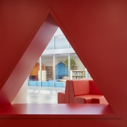 At this Rockford Elementary School larger-than-life spatial shape red