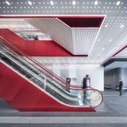 Shanghai's Shimao Festival City mall has high-profile escalators architecture, building, ceiling, design, escalator, interior design, line, material property, red, stairs, gray