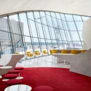 Visitors to TWA Hotel's Sunken Lounge and the architecture, TWA Hotel, Sunken Lounge, Paris Cafe, Jean-georges, TWa Hotel