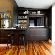 Copper recessed pulls provide a lustrous touch – white, black