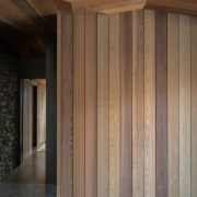 Schist and cedar seen on the outside of