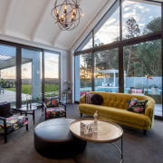 The formal living space in this home faces