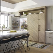 ​​​​​​​Oh, there's the fridge. This chevron-pattern fronted cabinet