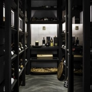 ​​​​​​​Not hidden away – this glass-fronted wine cellar