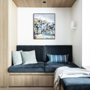 ​​​​​​​A wood veneer bulkhead helps give this reading