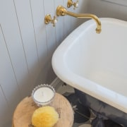 A secondhand bath was repainted in Resene Avalanche architecture, bathroom, bathroom sink, ceramic, floor, flooring, home, house, interior design, plumbing fixture, property, room, sink, tap, tile, wall, yellow, gray, secondhand, resene avalanche,  resene