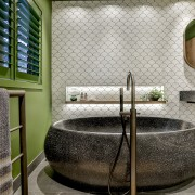 The choice of green worked well with the architecture, bathroom, flooring, green, interior design, plumbing fixture, room, tile, water feature, gray