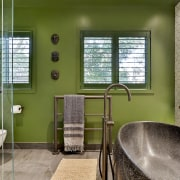 Frosted windows were replaced to let nature in architecture, bathroom, bathtub, building, ceiling, door, estate, floor, flooring, furniture, green, home, house, interior design, plumbing fixture, property, real estate, residential area, room, tap, tile, window, yellow, brown, gray