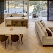 Timber parquet floors connect with the natural environment