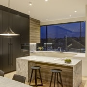 Natural finishes are a theme of the interiors.
