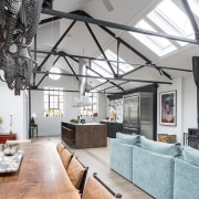 In harmony with its industrial surroundings, this kitchen