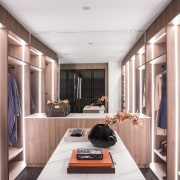 The robe and dressing area is connected to