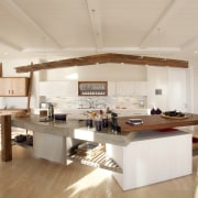 The planning of a kitchen should begin not architecture, beam, building, cabinetry, ceiling, countertop, daylighting, design, floor, flooring, furniture, hardwood, home, house, interior design, kitchen, kitchen stove, laminate flooring, living room, loft, material property, property, real estate, room, table, wood, wood flooring, gray