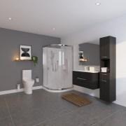Bathroom by LeVivi bathroom, floor, flooring, interior design, room, sink, gray