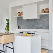 The home's crisp new kitchen with panelled doors,